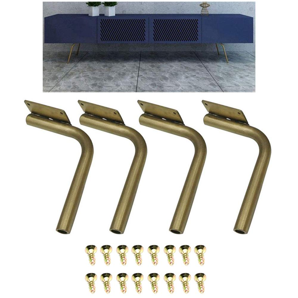 4Pcs Metal Sofa Legs, Stainless Steel Tilting Table Legs TV Cabinet Coffee Table Bedside Support Feet Golden Furniture 18/25cm