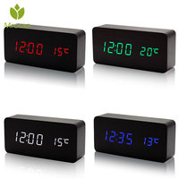 Mrosaa Wood LED Digital Alarm Clock Sounds Control Temperature 3 Display Modes Desktop Table clock Electronic Modern Time Clocks