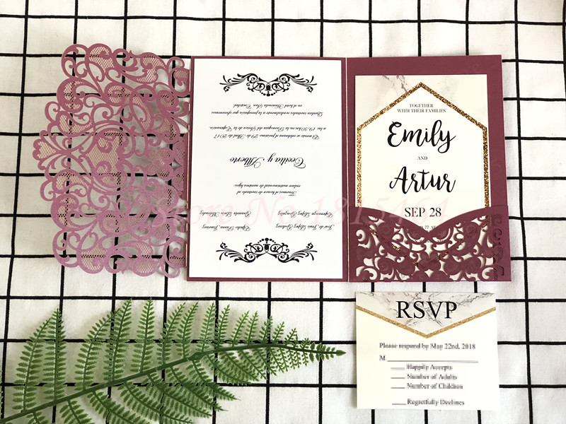 50pcs Laser cut wedding anniversary invitations set greeting cards customize business invitations RSVP cards party supplies
