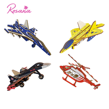 Rosana 3D Wooden Assemble Model DIY Airplane Military Fighter Kits Color Wood Puzzles Educational Toys Gifts for Children Adult chinese metal earth iconx 3d metal model kits 6 inch federation skyscraper 2 sheets military nano puzzles diy creative gifts