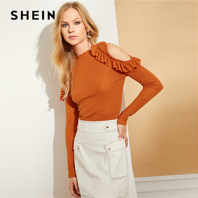 SHEIN Mock Neck Cold Shoulder Frill Tee Elegant Ladies Stand Collar Long  Sleeve T-shirt Women Autumn Stretchy Ruffle Tops a6cb1c109