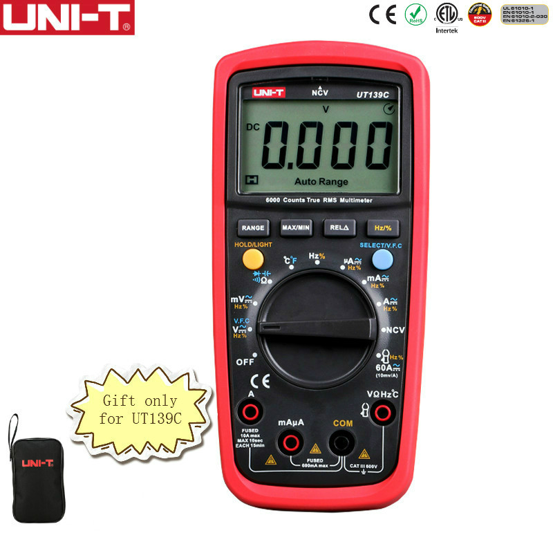 UNI-T UT139C Multímetro Digital True RMS Faixa Auto Medidor Handheld Tester 6000 Contagem Voltímetro Temperatura Teste transistor
