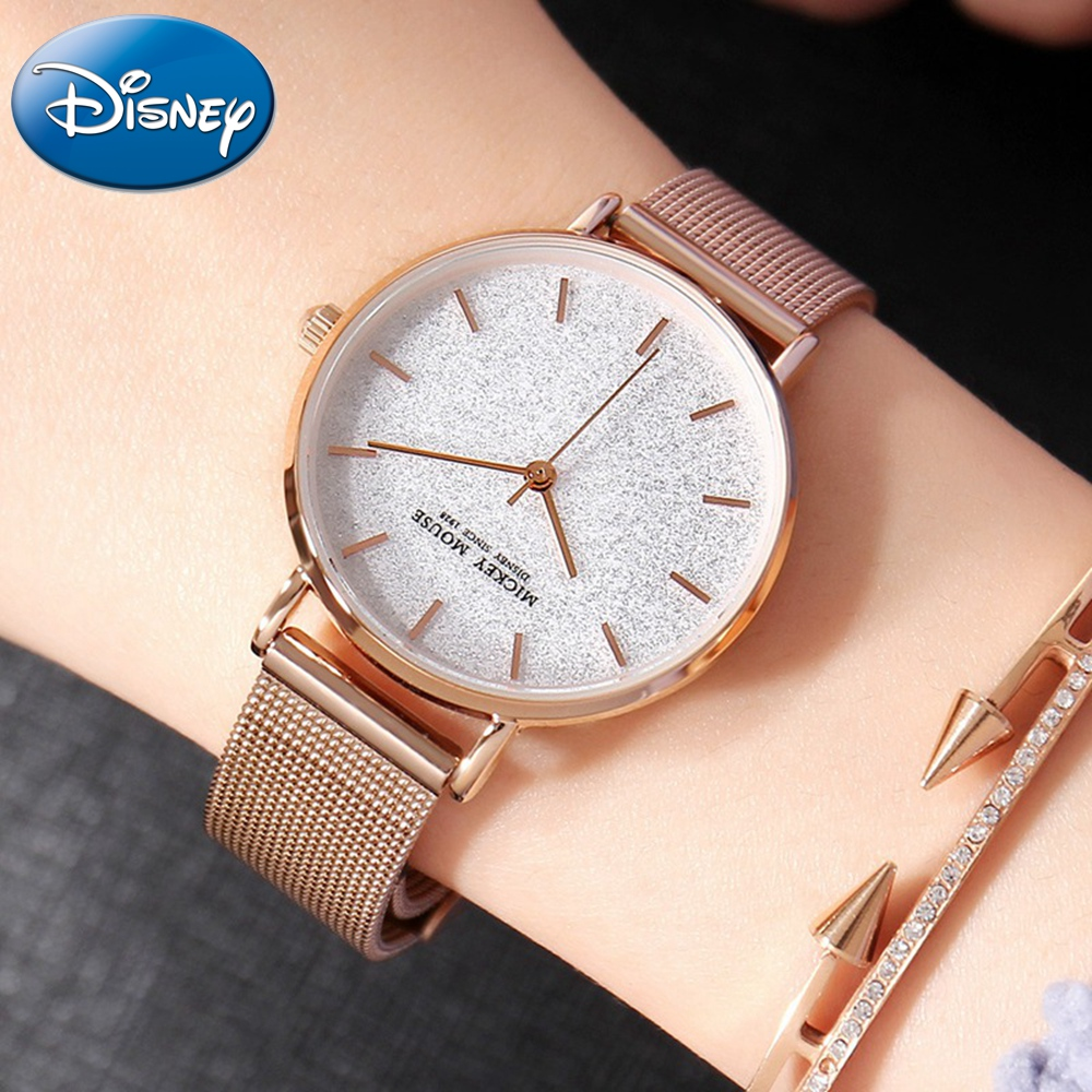 Disney Mickey Night Sky Stars Women Bracelet Steel Mesh Band Quartz Waterproof Watches Ladies Rose Gold Silver Gift Box Watch 100% genuine disney mickey mouse women quartz wrist watch with brand box packaging for 2016 birthday gift 30m feet waterproof