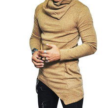 Men's 2018 Autumn Winter Long Sleeves Slim Shirt Men's Pile Stack Collar T-shirt Casual Fashion Long-sleeved Solid Color T-shirt