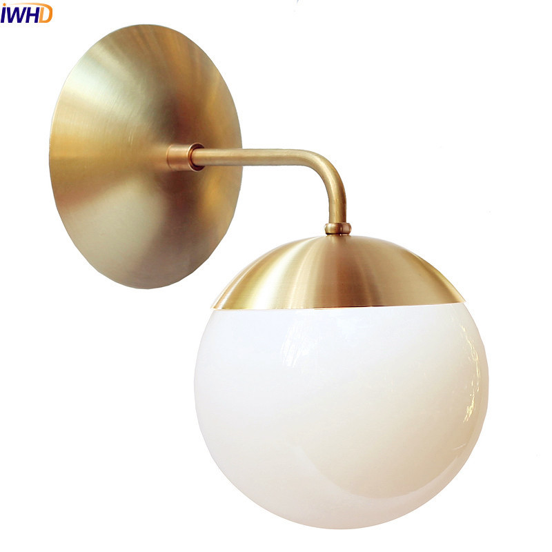 IWHD Nordic Copper Modern LED Wall Lamp Home Indoor Lighting Bathroom Mirror Light Glass Ball Wall Lights Fixtures Arandela
