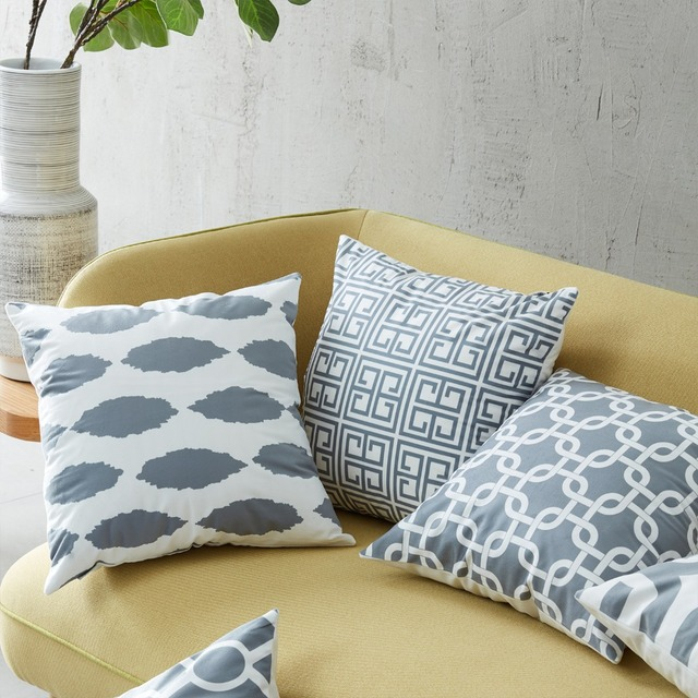 brixini.com - Grey Geometric Cushion Covers Throw Pillow Cases