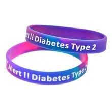 1PC Alert Type 2 Diabetes Silicone Wristband Adult Size