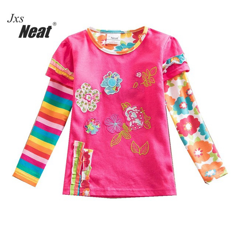 baby girl tops cotton long sleeve t-shirt 2017 spring and autumn brand children tshirt embroidered T-shirt for the girl L316