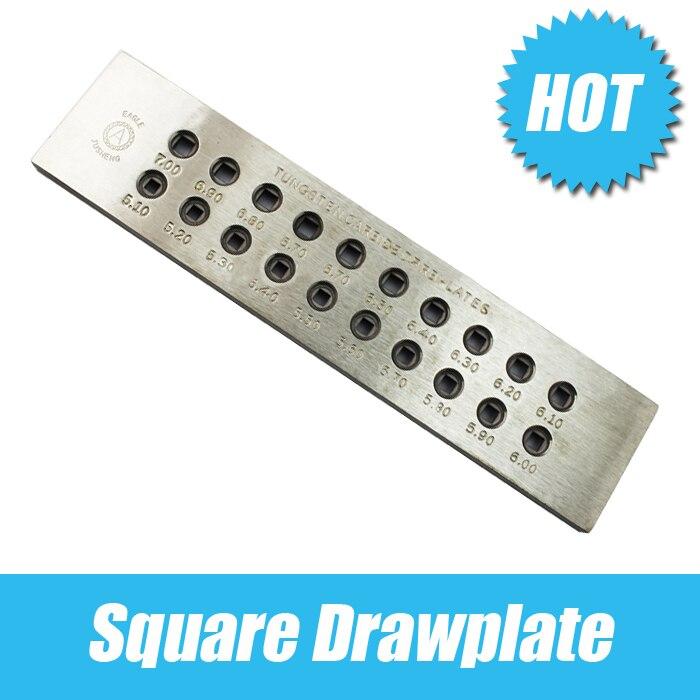 Livraison gratuite outils de fabrication de bijoux, carré carbure de tungstène taille du trou MAX 7.0 MM, trou numéro 20 orfèvre
