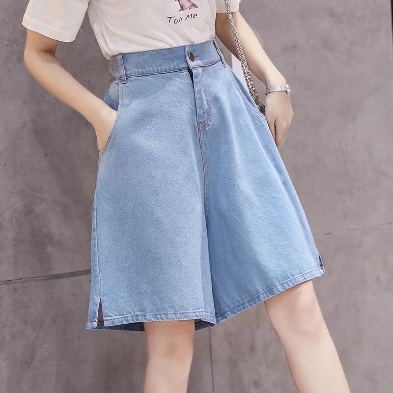 Knee Length Fashion Short Jeans Summer Women High Waist Denim Shorts Mujer Wide Leg Short Jeans Feminino Flare Short Pants Women