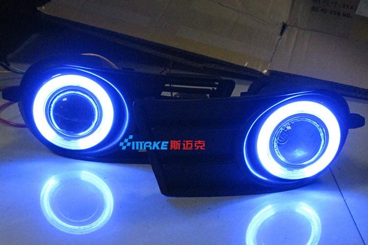 СИД DRL дневного света cob глаза ангела, объектив проектора противотуманная фара с крышкой для Сузуки Свифт 2005-09, 2 шт
