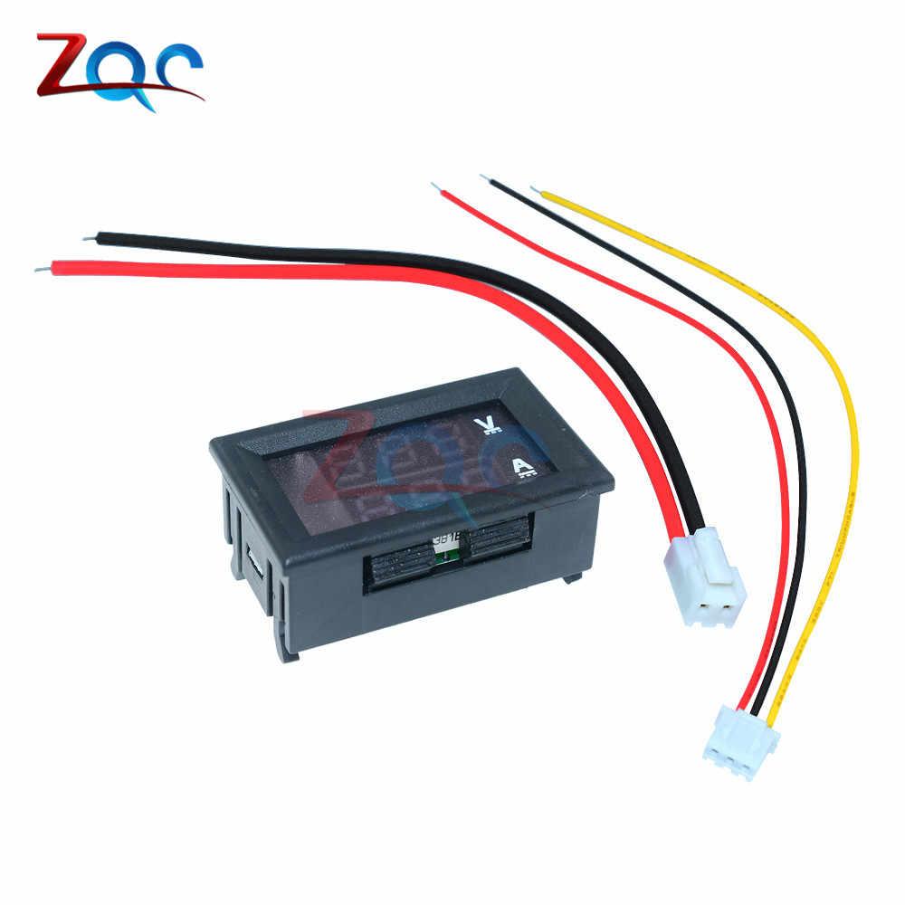 مقياس الفولتميتر الرقمي الصغير 0.56 بوصة مقياس التيار المستمر 100 فولت 10A لوحة أمبير فولت الجهد الحالي متر فاحص الأزرق الأحمر المزدوج LED العرض