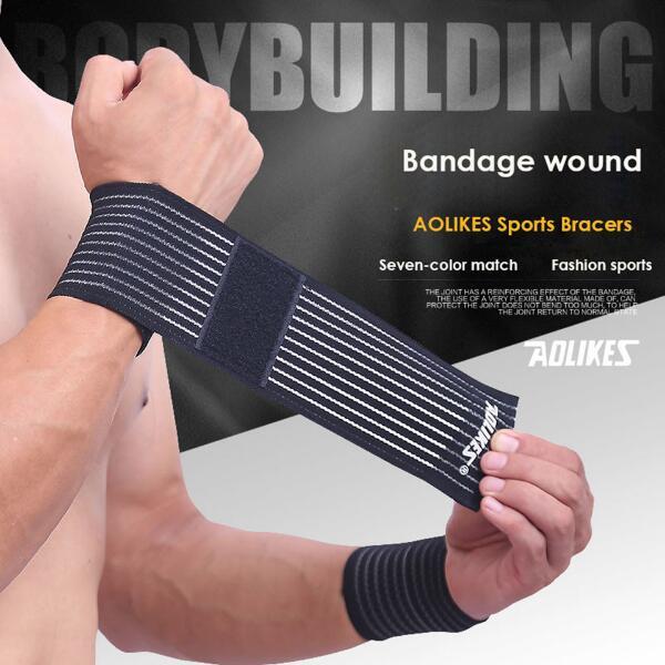 Sport Polyester Elastic Bandage Hand Sport Wristband Gym Support Wrist Brace Wrap Fitness Tennis Polsini Sweat Band Munhequeira