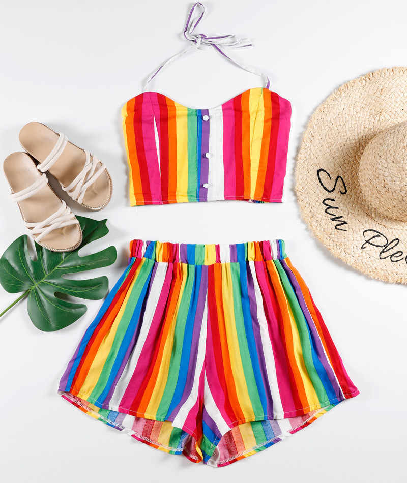 JAYCOSIN 2019 New Summer Women Suit Sexy Rainbow Striped Beading Ruched Camis Tie Dye Two-Piece Outfit Swimwear Shorts 904244