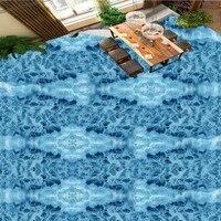 Free Shipping custom 3D ocean waves Bathroom walkway floor mural affixed hotel bedroom Self adhesive flooring wallpaper