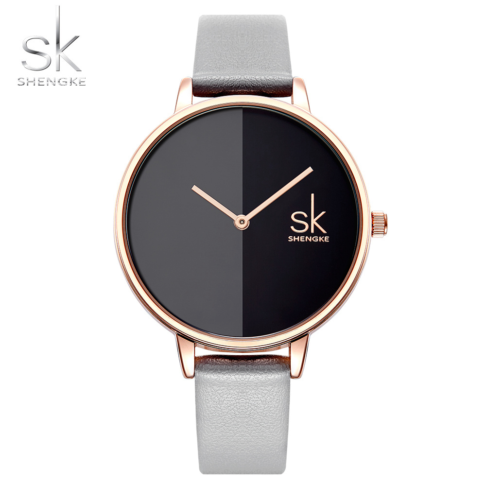 Shengke Fashion Watch Women Casual Leather Quartz watch Round Wrist Watch Women Gold Case Dial Lady Watch Brand 2018 New