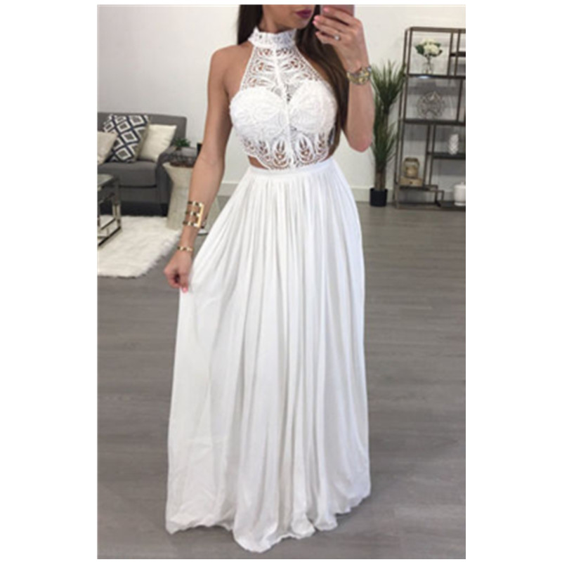 <font><b>2018</b></font> <font><b>New</b></font> <font><b>Women</b></font> Boho Casual Long Sleeveless Maxi Evening Party <font><b>Sexy</b></font> <font><b>Lace</b></font> Hollow Out Beach <font><b>Dress</b></font> Sundress Hot <font><b>Fashion</b></font> image