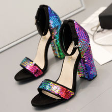 2019 sequins sandals women summer ladies shoes colorful gold high heel  fashion Sequined square bling dance Sexy