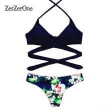 2017 Сексуальная Крест Бразильское Бикини Для Женщин Цветочный Купальники Купальник push up bikinis набор короткий топ пляж купальники плавать носить