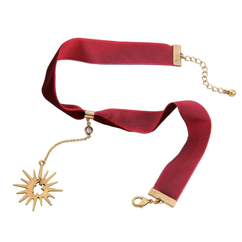 Crystal Star ripats must punane velvet choker kaelakee pop naiste - Mood ehteid - Foto 6
