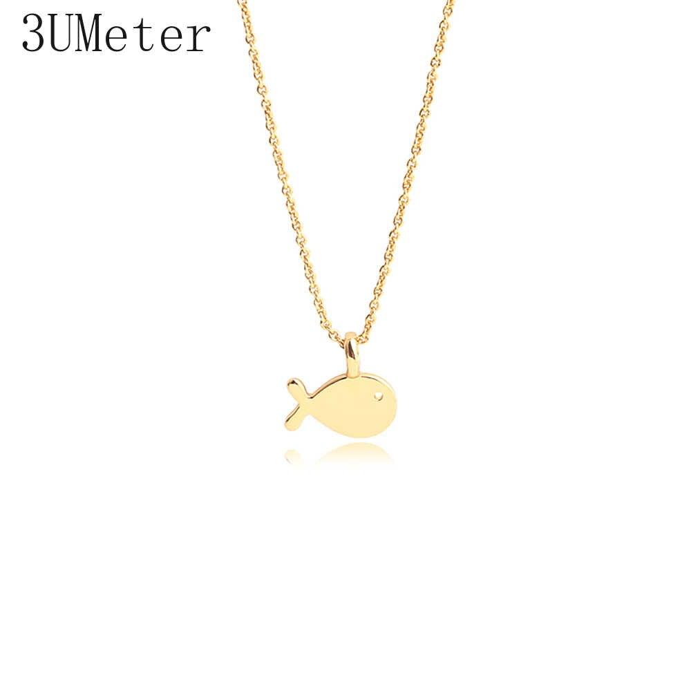 3 umeter 2019 novo ouro peixe colar para as mulheres círculo geométrico colar sorte ferradura colar presente transporte da gota