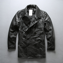 2020 Men's Genuine Leather Winter Jacket Vintage Classic Cowhide Leather Coat Ca