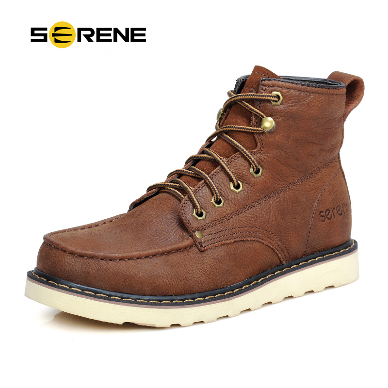 SERENE Tooling Boots Men Leather Shoes British Style Work Botas Lace up High Top Casual Boots Men Winter Boots Chukka Boots 3153