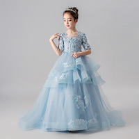 a464af66b0799 Vintage Flower Girl Dresses for Wedding Bowknot Appliques Princess Dress  Half Sleeve Stand Collar Ball Gown Kids Evening