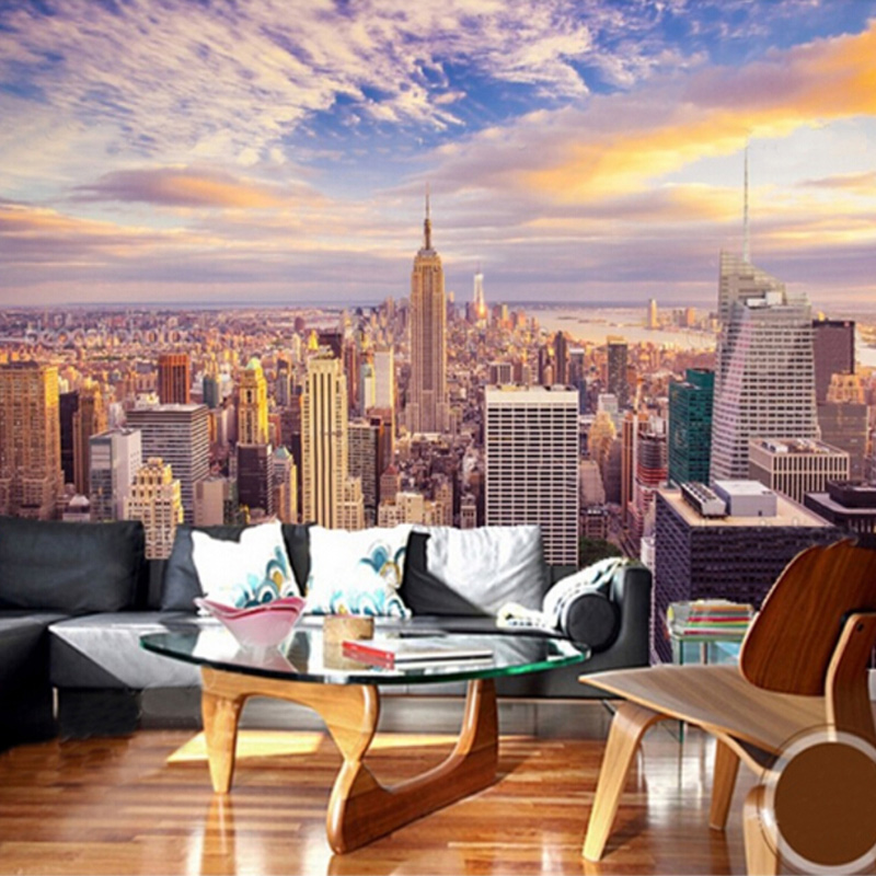 Custom size 3d murals wallpaper modern new york city for Custom size wall mural