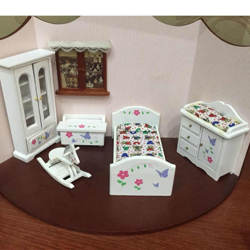 Doub K 1:12 Dollhouse Furniture toy white Miniature bed cabinet bedroom sets pretend play toys for children dolls girls gifts