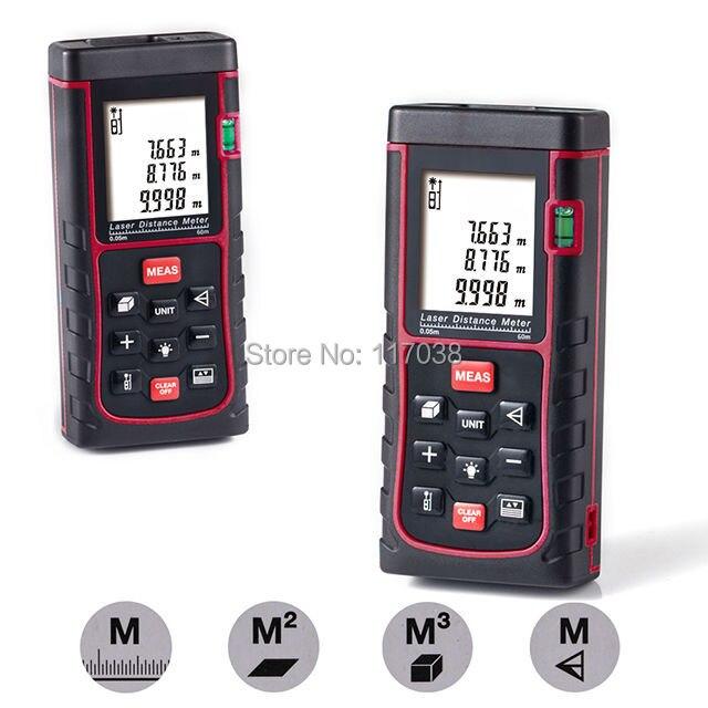 New 60m(192ft) Handheld Laser Distance Meter Rangefinder Range Finder Digital Measure Length Area Volume tool Accuracy 2mm my68 handheld auto range digital multimeter dmm w capacitance frequency