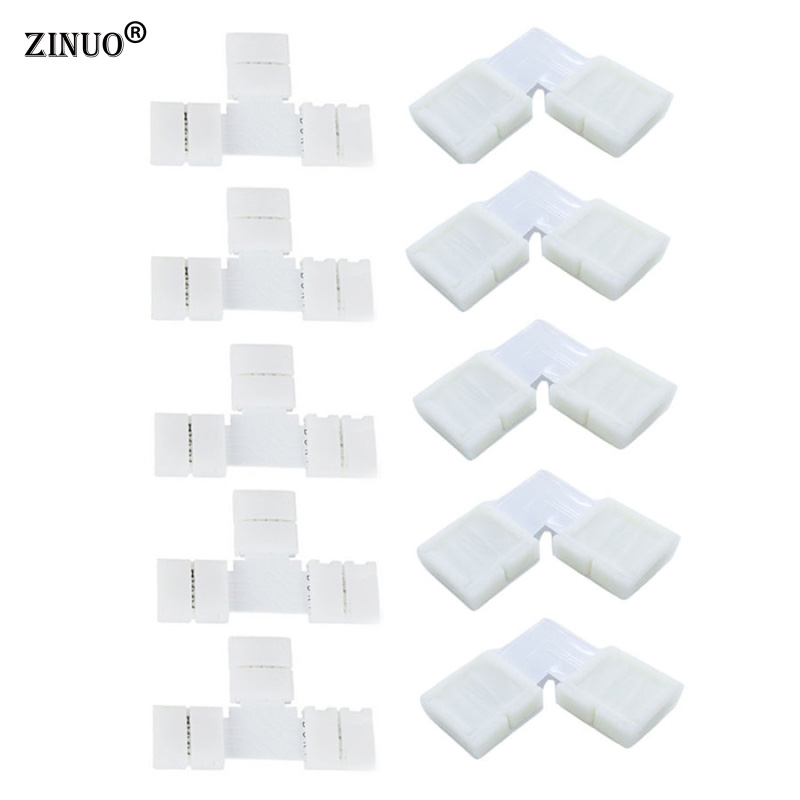 ZINUO 4 Pin 10mm LED Strip Connectors 5pcs T Shape + 5pcs L Shape For 5050 RGB LED Strip PCB Board Wire Connection No Soldering new 5pcs 2pin 3pin 4pin led connector l t x shape fpc adapter free welding for 8mm 10mm 3528 2812 5050 rgb light strip