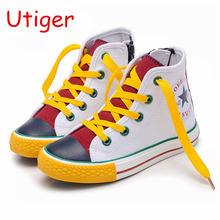 Children Shoes For Girl Kid canvas shoes  laces UP Spring Autumn boys Girls Sneakers children single Shoes  Flats Size 25-38