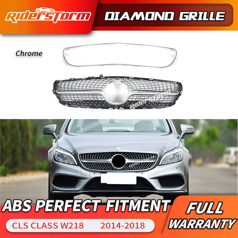 For <font><b>W218</b></font> diamond front <font><b>grill</b></font> ABS grille for Mercedes Benz CLS Class 2014-2018 Replacement front grille silver diamond <font><b>grill</b></font> image