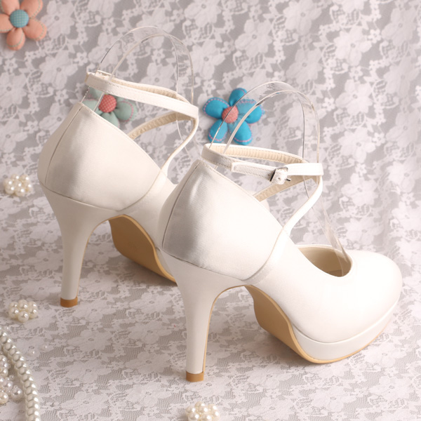 8c93aba5eff1 Wedopus MW929 Ankle Strap Pumps Women Shoes Wedding Off white Satin Heels  Dropshipping-in Women s Pumps from Shoes on Aliexpress.com