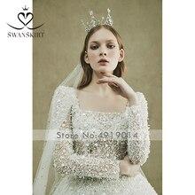 7a69475c12 Swanskirt vestido de boda de la reina vestido de novia de lentejuelas  vestido de baile en Turquía velo Noble elegante nuevo pers.