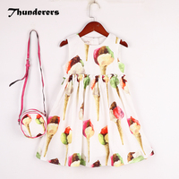 Baby Girls Summer Dress Sleeveless Ice Cream Fashioon Dress With Bag High Quality Princess Party Dressing Clothes Kids Clothing