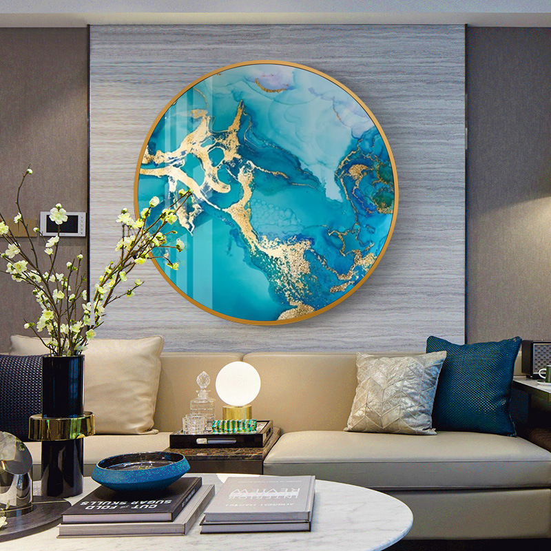 Abstract art Round crystal porcelain painting metal frame Living room decorative painting Entrance hall mural Bedside painting