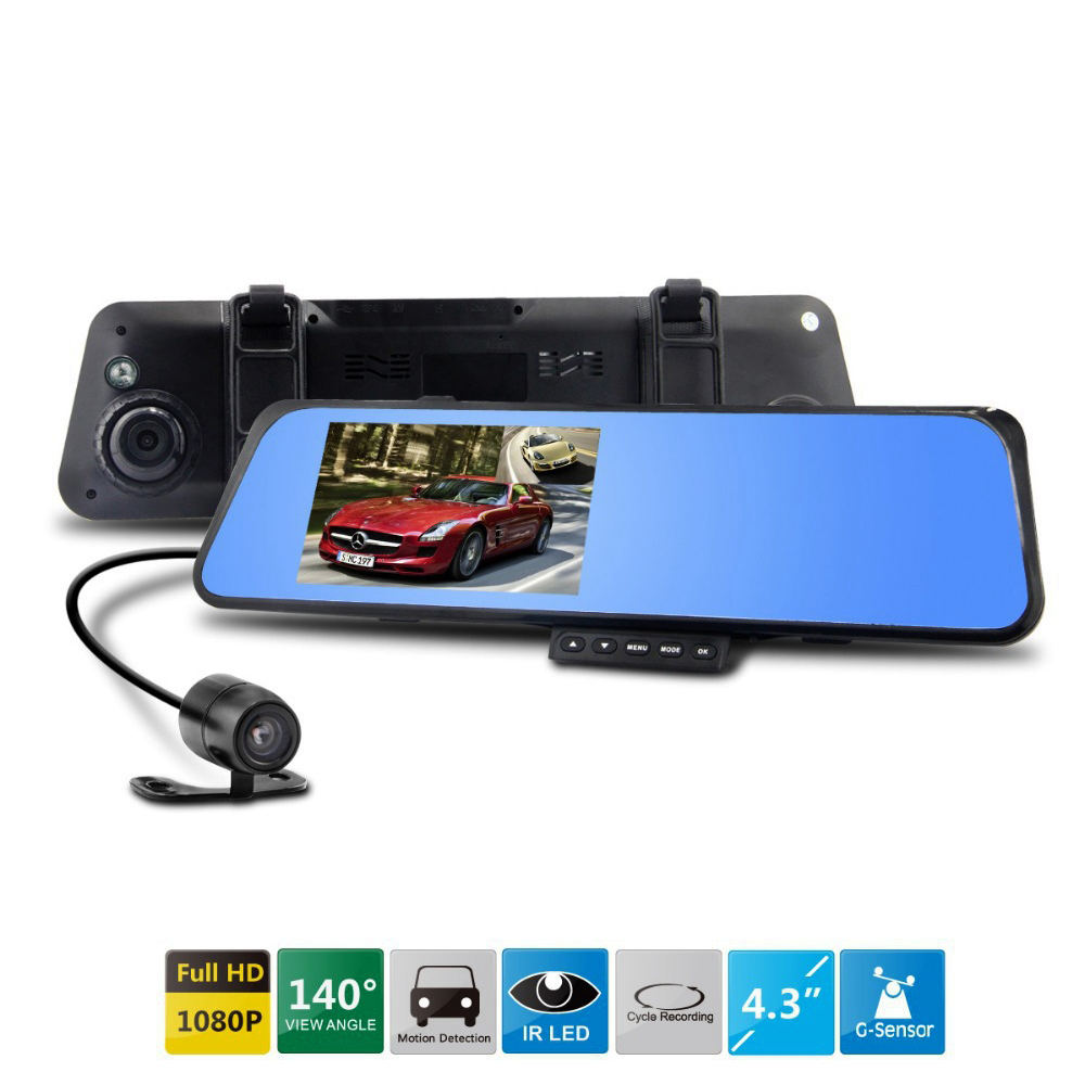 Dual Lens Car DVR Mirror Rearview Camera Dash Cam Video Recorder Auto Registrator Camcorder Full HD1080P Night Vision Rear View