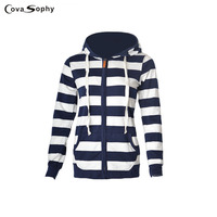 Cova Sophy 2017 Navy White Striped Open Stitch Pockets Hat Hooded Casual Cardigans Long Sleeve Sweater