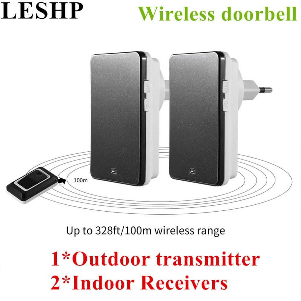 LESHP Wireless Doorbell Portable Digital Cordless Door-Bell Kit Waterproof 1000ft/ 300m Range with Plug-in Receivers door bell with 36 chimes single receiver waterproof plug in type wireless doorbell cordless smart door bells doorbells