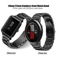 20 мм 22 мм металлический ремешок для Xiaomi Huami Amazfit Pace bip браслет Amazfit Stratos 2 нержавеющая сталь ремешок для часов huawei GT Magic