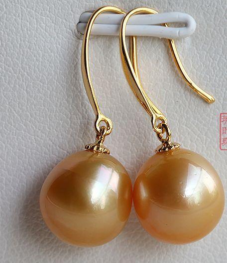 Une paire 10-11mm mer du sud or rose perle ronde balancelle earrings14kUne paire 10-11mm mer du sud or rose perle ronde balancelle earrings14k