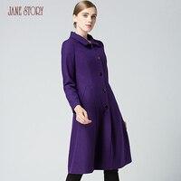 Jane Story Winter Women Single Breasted High Waist Woolen Coat Elegant Office Lady Dress Windproof Coat Slim Fashion