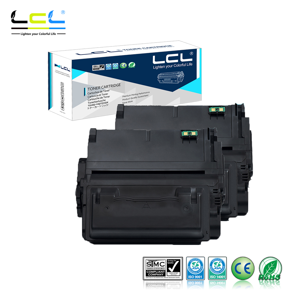 LCL 42A 38A Q5942A Q1338A  (2-Pack Black) Toner Cartridge Compatible for HP LaserJet 4200/4300/4250/4350/4345 Series lcl 31 32 33 34 2 pack black ink cartridge compatible for dell v525w dell v725w
