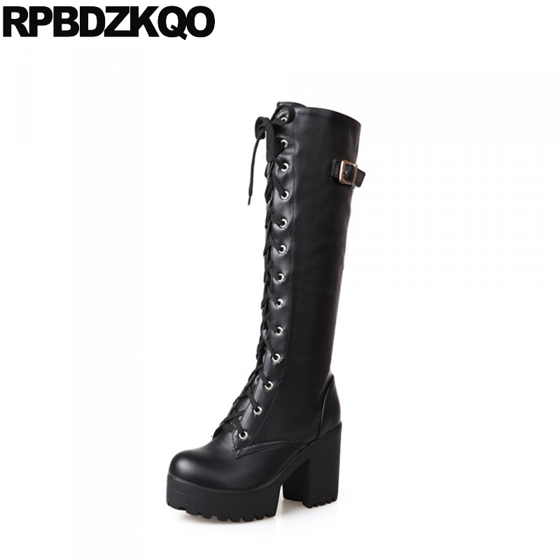 Shoes Slim Belts 11 10 Black Women Lace Up Rock Long Big Size Gothic Knee High Waterproof Block Heel Punk White Platform Boots 2017 new steam punk punk street gothic personality hole slim slim female stretch leggings