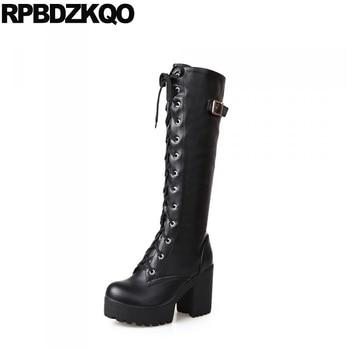 Shoes Slim Belts 11 10 Black Women Lace Up Rock Long Big Size Gothic Knee High Waterproof Block Heel Punk White Platform Boots