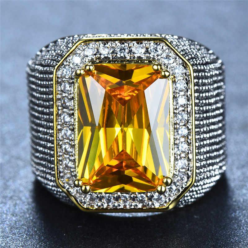 ゴージャスなビッグ男性女性ピンクイエローブルーホワイトリングクリスタルジルコン石ゴールド婚約指輪男性女性大結婚指輪