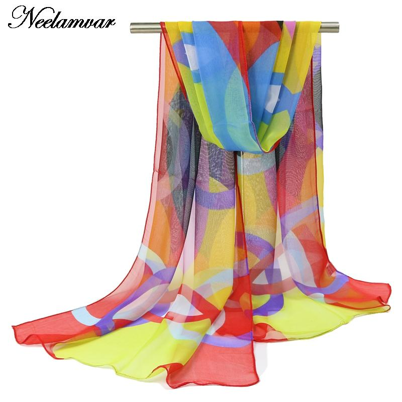 Hot Sale Women Ladies Long Chiffon silk scarf Stole Soft Scarves spring and autumn accessories circle Summer cape