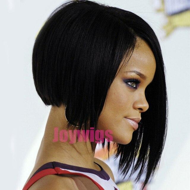 Gaya Rihanna Pendek Berlapis Gaya Rambut Bob Renda Wig Rambut - Gaya rambut pendek rihanna
